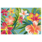 Company C - Mai Tai Hand Hooked 2'x3' Outdoor Doormat, Multi - Hand-hooked of durable polypropylene yarns, our Mai Tai rug is a tropical paradise of florals in bold hues of fuchsia, yellow, and coral paired with teals and green. This area rug is at home outdoors, or in high-traffic indoor areas.