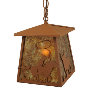 "Meyda Lighting 7""Sq Cowboy & Steer Lantern Pendant, Rust/Amber Mica"