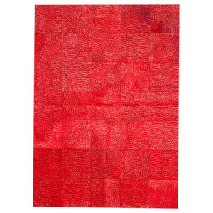 Patchwork Leather Cubed Cowhide Croco Rug, Red, 200x300 Cm