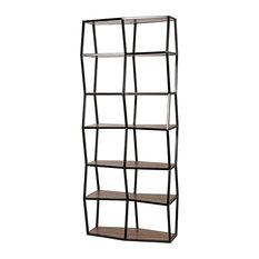 83.5-inch T Odelle Bookcase Black Metal Frame Hand Crafted Walnut Shelves Modern