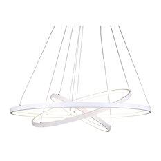Modern 3 Rings 90W LED Pendant Light Contemporary Large Hanging Light, White