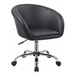 Modern Swivel Bar Stool, Faux Leather, Adjustable Height, Black