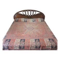 Mogul Interior - Pashmina Indian Bedding Cashmere Bedspreads Sofa Throw Orange Black Medallion - Blankets