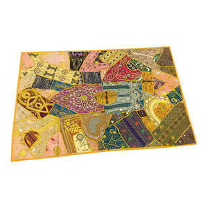 Mogulinterior - Indian Wall Decorsari Tapestries Blue Embroidered Patchwork Wall Hanging Throw - Tapestries