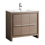 """Fresca Allier 36"""" Gray Oak Modern Bathroom Cabinet With Sink"""