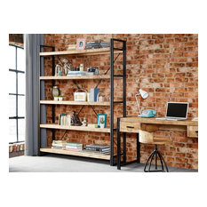 Bonsoni Baudouin Industrial Large Open Bookcase Made From Reclaimed Metal And Wo