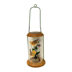 """LED Lighted Solar Powered Outdoor Garden Lantern With Flowers, 10.5"""""""