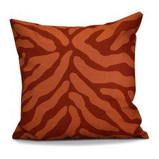 "Animal Stripe Geometric Print Outdoor Pillow, Orange, 18""x18"""