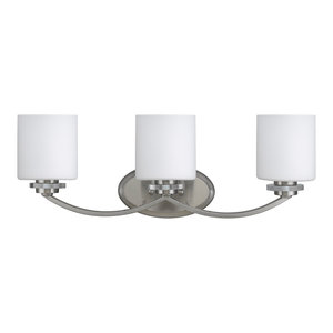 Prudence 3-Light Brushed Nickel Vanity Wall Fixture White Etched Glass