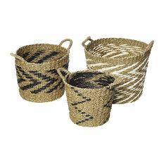 Round Black, White and Natural Zigzag Seagrass Storage Baskets, 3-Piece Set