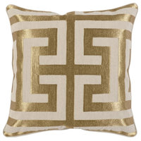 "Carly Embroidered 22"" Throw Pillow by Kosas Home, Gold"