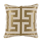 """Carly Embroidered 22"""" Throw Pillow, Gold by Kosas Home"""