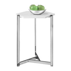 Monarch Specialties   Hexagon Accent Table With Chrome Metal, Glossy White    Side Tables And