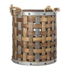 Bamboo/Metal Storage Basket, Large
