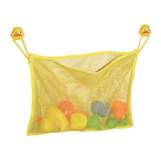 Yellow Bath Tub Toys Organizer Duck Heads On 2 Strong Suction Mounted