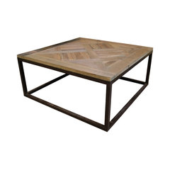 Gramercy Modern Rustic Reclaimed Parquet Wood Iron Coffee Table Square Dimensions