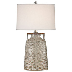 Naxos Table Lamp in Charring Cream Glaze - with Philips Hue LED Bulb/Dimmer