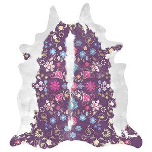 Gypsy Faux Cowhide Rug, Purple