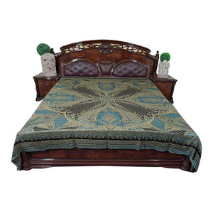 Mogul Interior - Moroccan Bedding, Pashmina Wool Blanket Throw, Turquoise Black Paisley - Throws