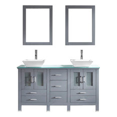 """Virtu Usa Inc. - Bradford 60"""" Double Sink Top Vanity, Gray, Polished Chrome Faucet With Mirror - Bathroom Vanities and Sink Consoles"""