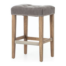 Tufted Counter Stool Grey Canvas