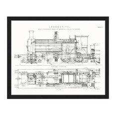 """Steam Train Locomotive"" Framed Print, 40x50 cm"