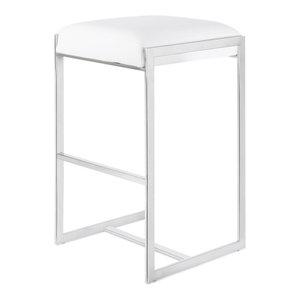 Logan Bar Stool, Polished Stainless Steel Frame/White Seat