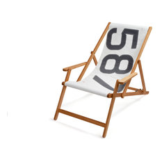 Recycled Sailcloth Oak Deck Chair, White and Grey