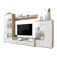 "Meble Furniture & Rugs - Saala 3 Entertainment Center Wall Unit With LED Lights 60"" TV Stand - Entertainment Centers and Tv Stands"