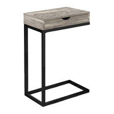 Monarch Contemporary Drawer Top Accent Side Table In Taupe And Black