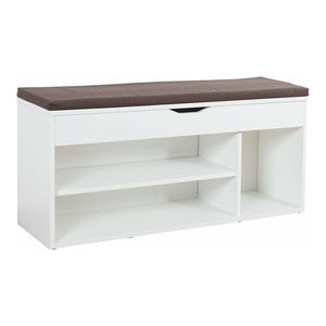 Contemporary Shoe Storage Rack, Solid Wood, Compartments and Top Cushion