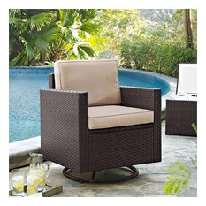 Crosley Palm Harbor Wicker Swivel Patio Arm Chair in Brown and Sand