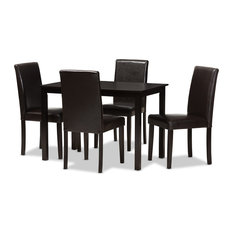 Mia Modern Dark Brown Faux Leather Upholstered 5-Piece Dining Set