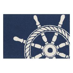 "Frontporch 1456/33 Ship Wheel Navy, 36""x24""x0.38"""