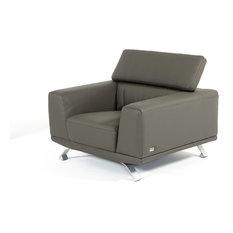 Brustle Modern Dark Gray Eco-Leather Chair