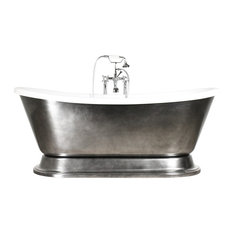 """'Christoforo73 Air' 73"""" Air Jetted CoreAcryl Acrylic French Bateau Tub Package"""