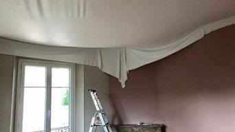 Pose d'un Plafond tendu à chaud blanc Mat