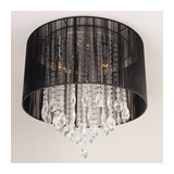Elen Black Shaded Low Ceiling Light with Crystal Drops