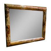 "Northern Rustic Pine Log Mirror, 42""x36"""