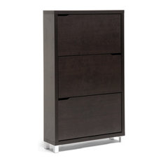 Baxton Studio - Simms Modern Shoe Cabinet, Dark Brown - Shoe Storage