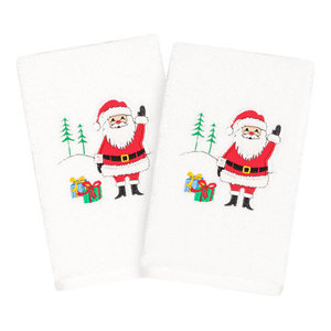 Linum Home Textiles Christmas Santa Waving Hand Towels, Set Of 2, White
