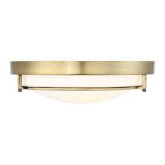 Helmsman Lighting Works - 2-Light Flush Mount Light, Natural Brass - Flush-mount Ceiling Lighting