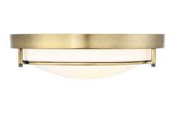 2-Light Flush Mount, Natural Brass