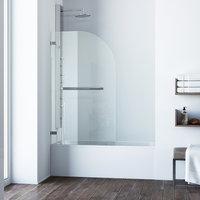 VIGO Orion Clear Curved Bathtub Door, Chrome