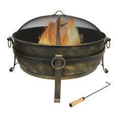 "Sunnydaze Steel Cauldron Fire Pit Durable Woodburning Patio, 34"""