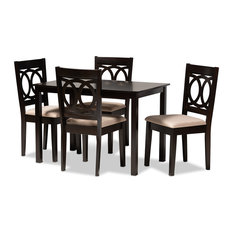 Quinn Sand Fabric Espresso Brown Finish 5-Piece Dining Set
