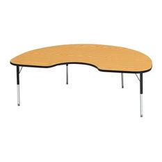 "Ridgeline Kydz Activity Table, Kidney, 48""x72"", 15"", 24"", Oak"