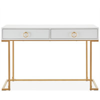 Home Office 2-Drawer Desk/Vanity Table, Wood And Metal, White