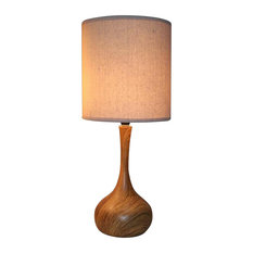 Dark Wood Texture Table Lamp With Linen Shade