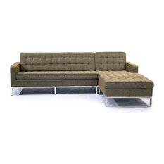 Midcentury Florence Sectional, Oatmeal, Material: Twill, Right